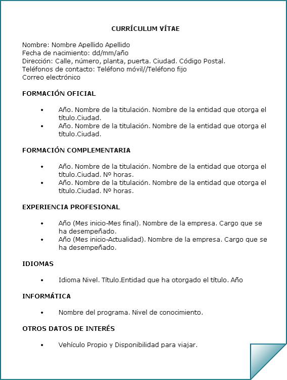 Curriculum Vitae 03: Ejemplos y tipos – Aulas de empleo y trabajo